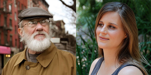 Author photos of Robert Stone (left) and Lauren Groff (right)