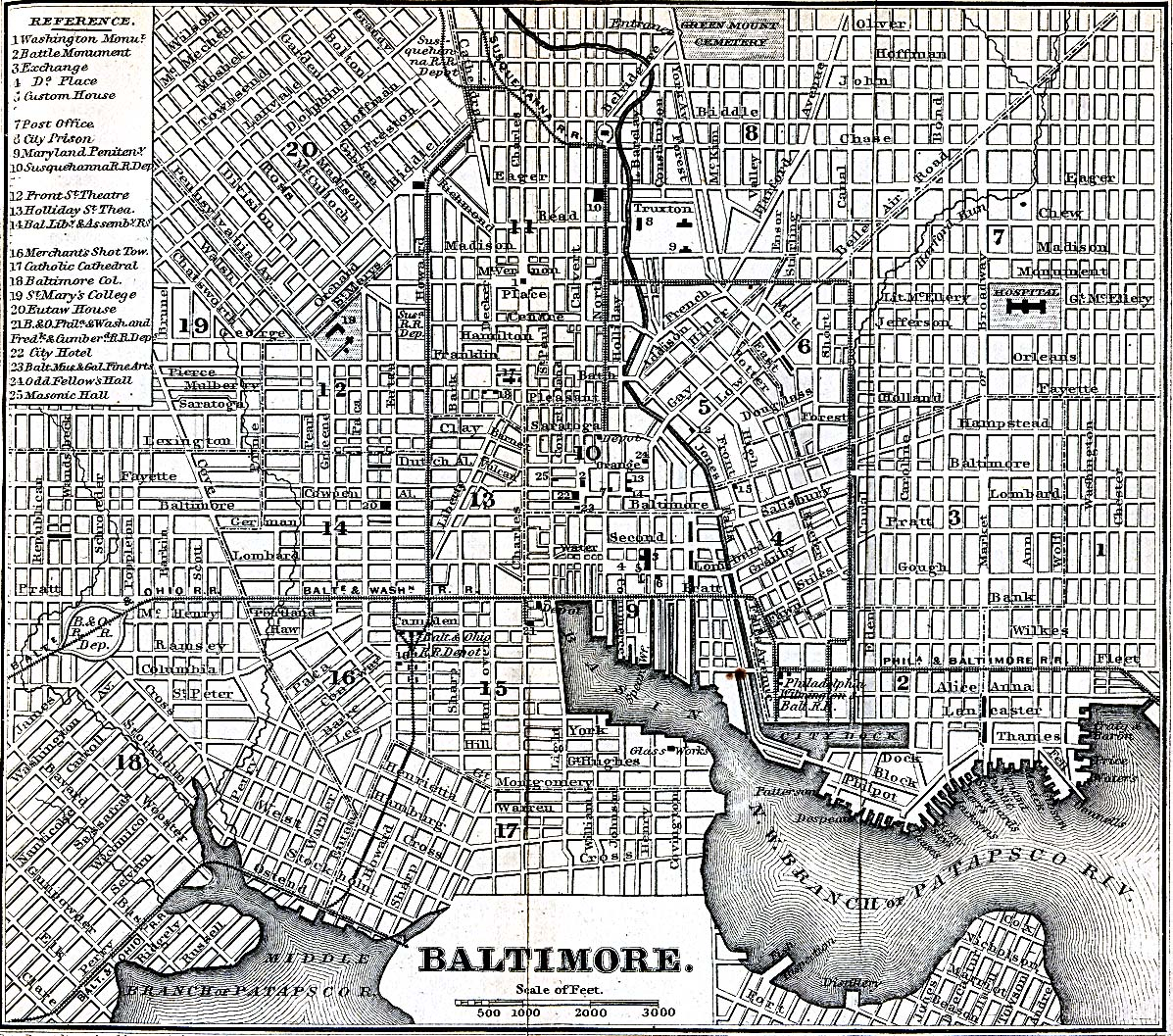 Vintage map of Baltimore