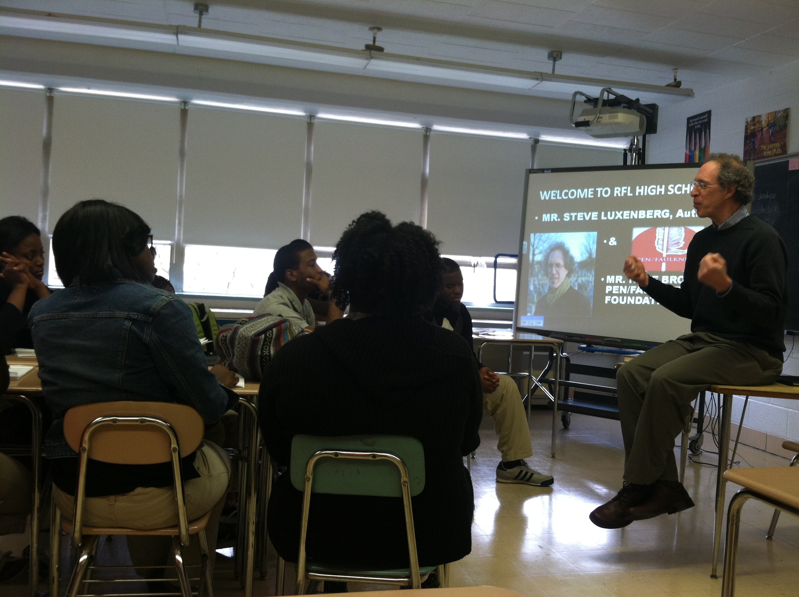 Author Steve Luxenberg discusses his book Annie's Ghosts with students at Reginald F. Lewis High School of Business & Law in Baltimore, MD