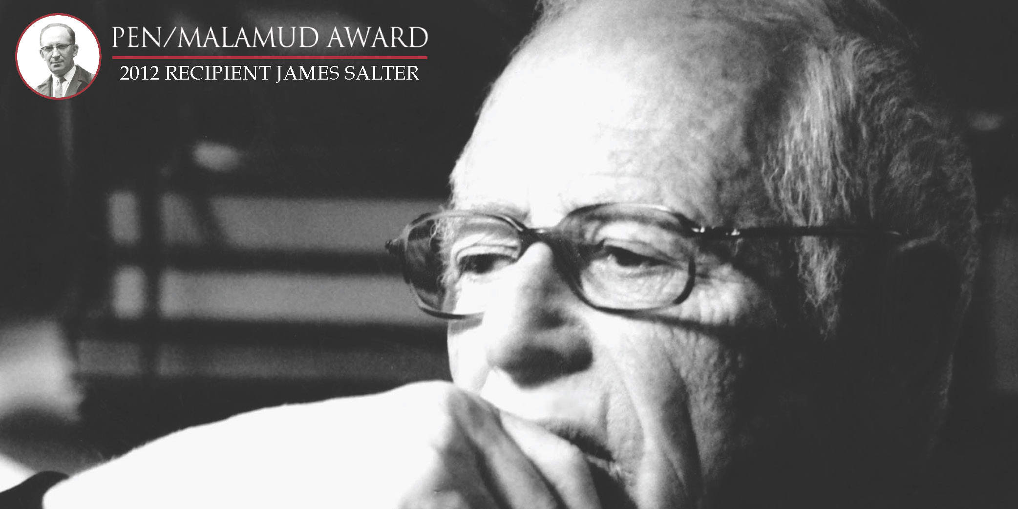 James Salter headshot and PEN/Malamud logo.