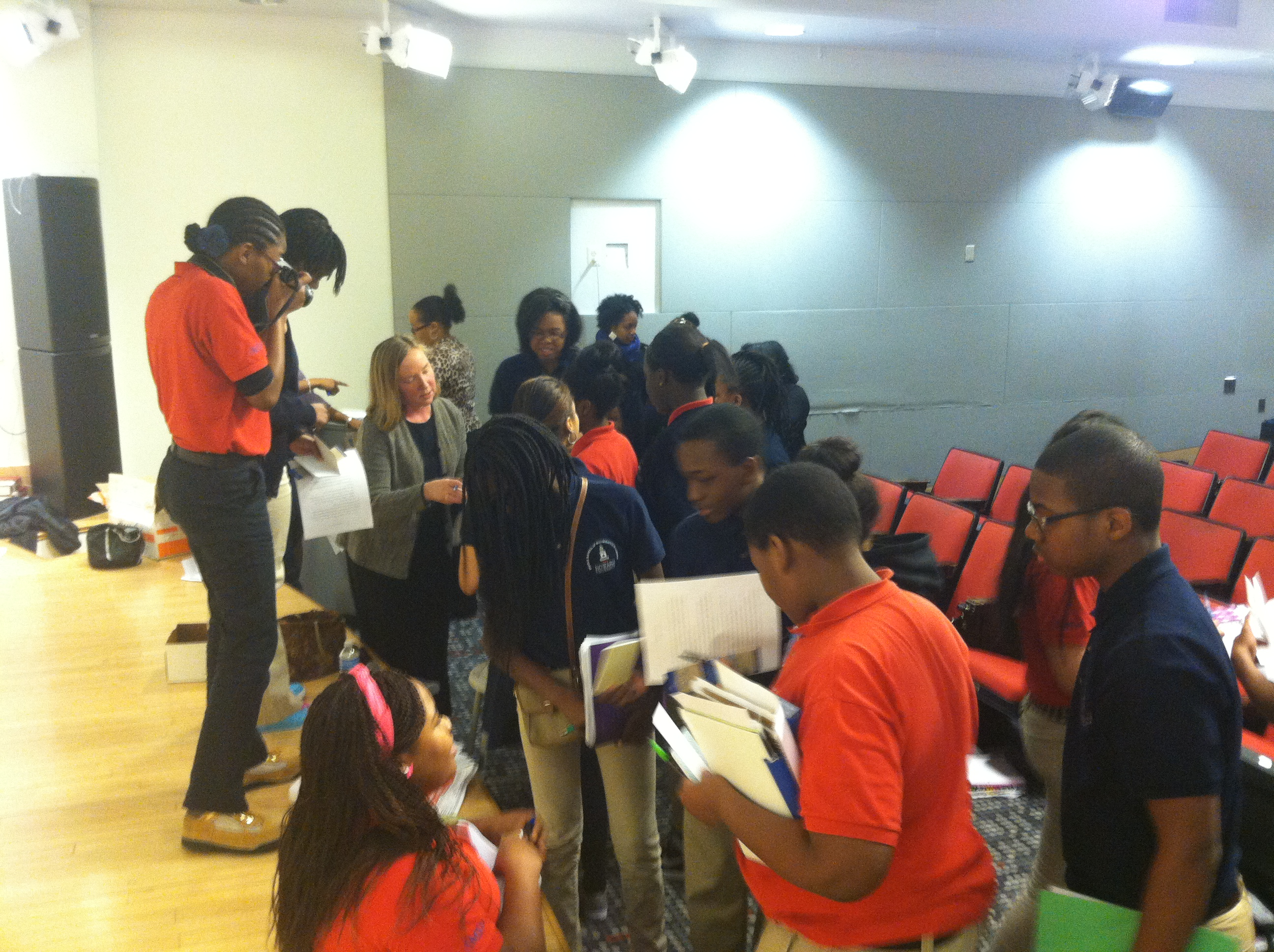Valerie Patterson with students from Howard University Middle School
