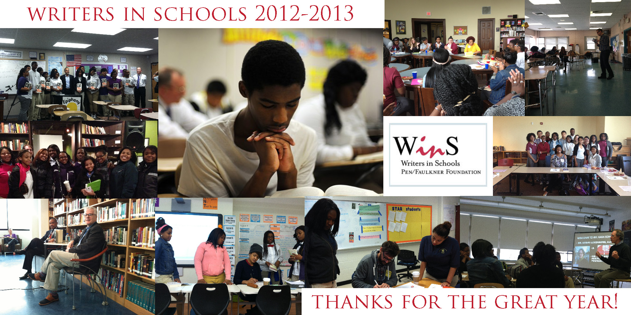 Composite image of various Writers in Schools visits in Washington, DC and Baltimore, MD during the 2012-2013 academic year.