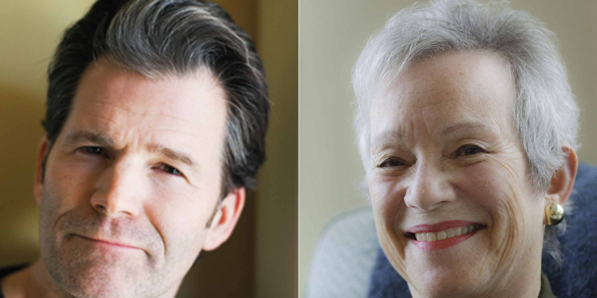 Andre Dubus III (left) & Edith Pearlman (right)