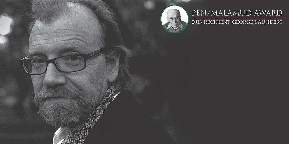 George Saunders author photo with Malamud graphic