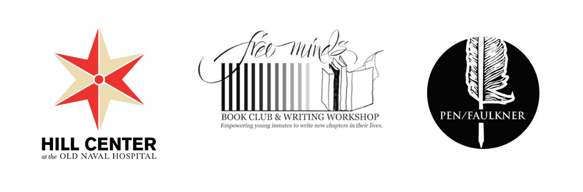 Hill Center, Free Minds, and PEN/Faulkner Logo