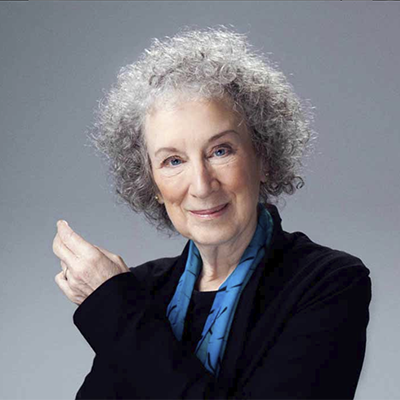 Headshot of author Margaret Atwood, a White woman with a black top